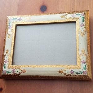 Vintage Painted Floral & Gold Wood Picture Frame